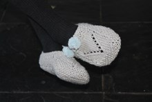 Lady Pom Pom Slippers Knitting Kit