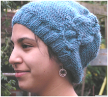 Knitted cable slouch hat