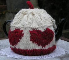 Knitted Heart Tea Cosy