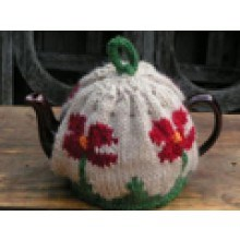 Knitted Poppy tea cosy