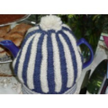 Knitted blue rouched tea cosy